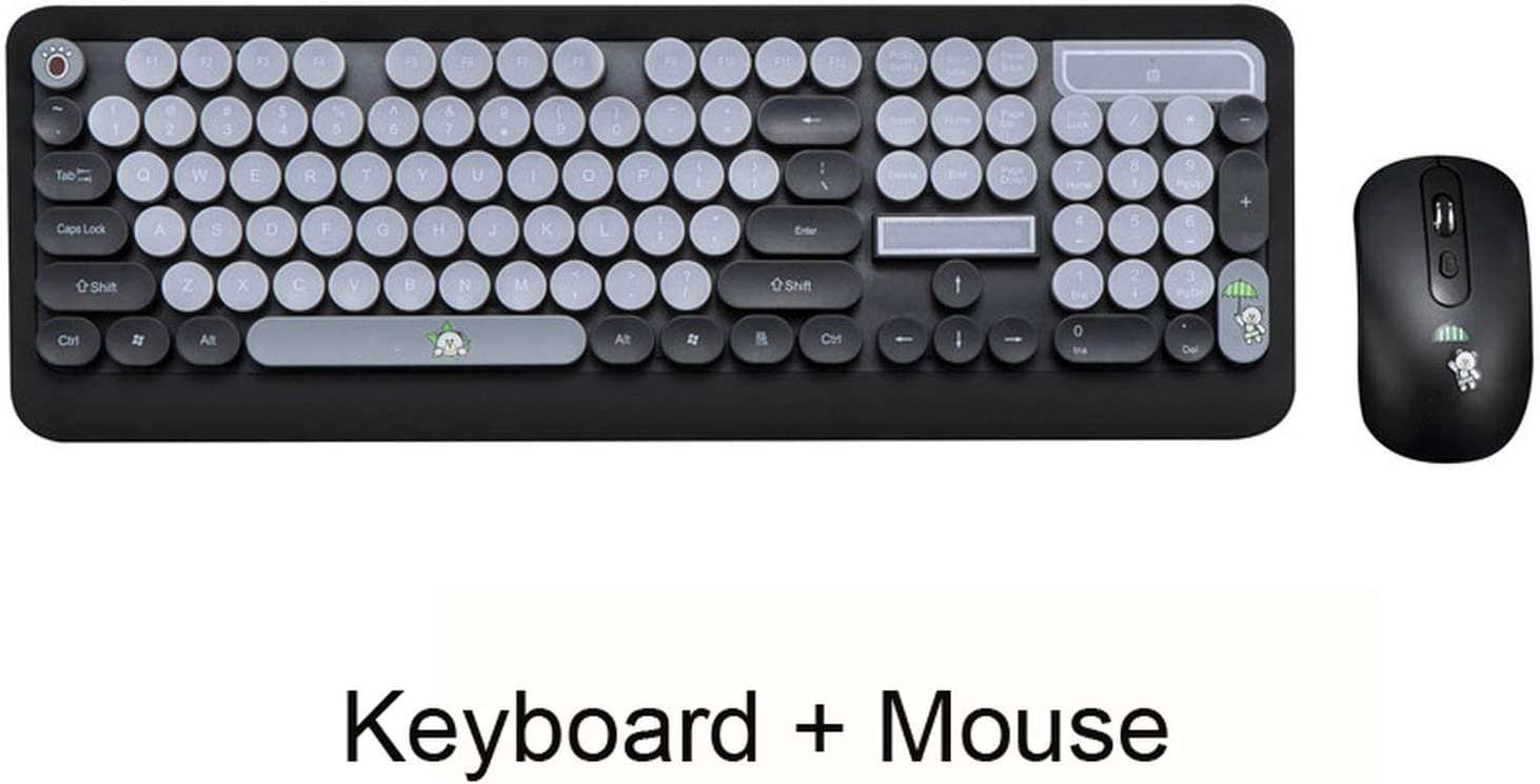 Wireless Keyboard Mouse Combos Gaming Office Cute Punk Retro Round Keycap Cartoon Personality Computer,Gold