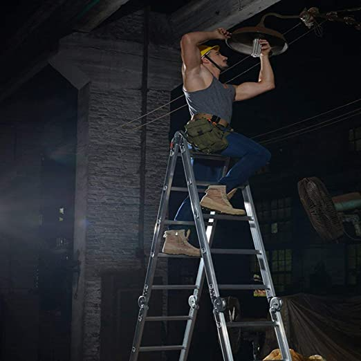 Escalera multifunción de aluminio 6 en 1, escalera plegable, escalera plegable, escalera multiusos, soporta hasta 150 kg, escalera multiusos con 2 placas de andamio, 4 x 3 peldaños / 4 x 4 peldaños / 4 x 5 peldaños: Amazon.es: Bricolaje y herramientas