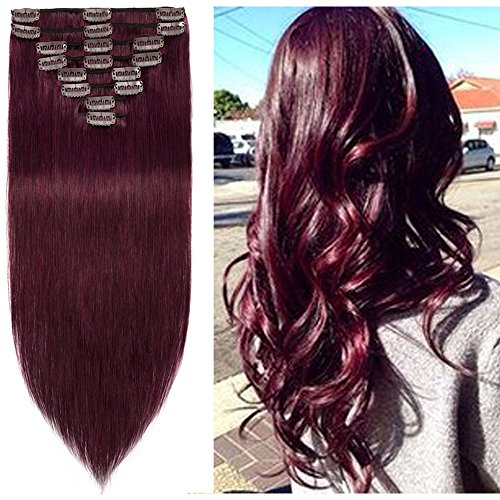 Standard Weft 13 Inch 80g Clip in 100% Real Remy Human Hair Extensions 8 Pieces 18 Clips #99J Wine Red
