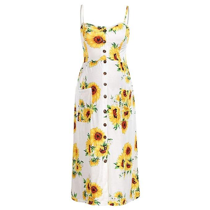 Vestido Largo sin Mangas con Estampado Floral de Girasol de ...