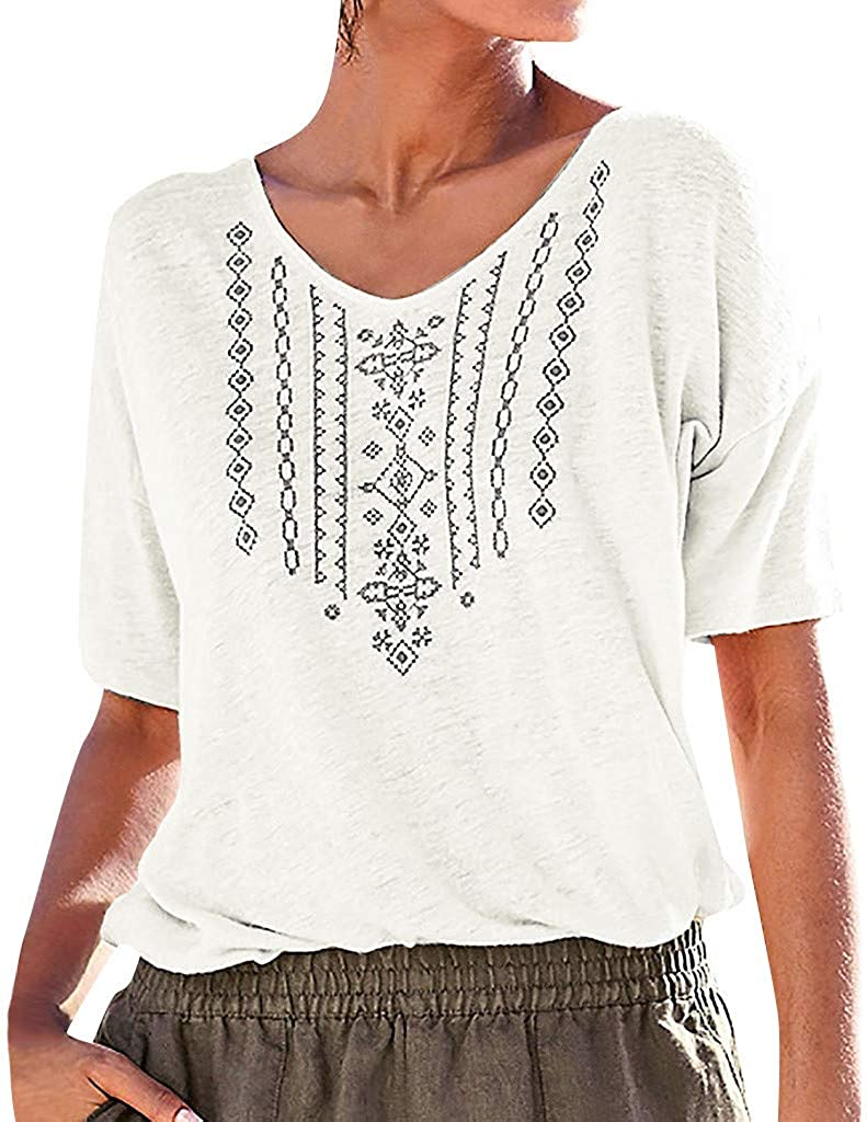 TWGONE African Print Tops for Women Plus Size Summer V Neck Short Sleeve Casual T Shirt Blouse