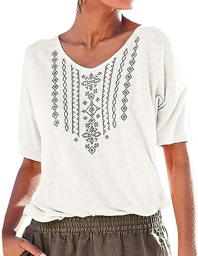 LUNULE VENMO Blusas Mujer Elegante Camisas Mujer Casual Camiseta de Verano de Manga Corta con Cuello en V Blusa Top de Fiesta Playa Mujer Summer T Shirts: Amazon.es: Ropa y accesorios