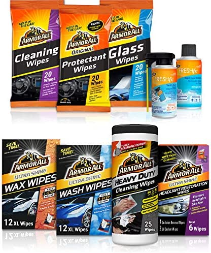 Armor All Car Wash and Cleaner Kit (9 Items) – Includes Glass and Cleaning Wipes & Air Freshener, 19120