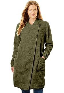 a4b30175fe0b6 Amazon.com  Woman Within Plus Size Fleece Swing Funnel-Neck Jacket ...