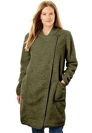 b3380f0e884 Amazon.com  Woman Within Plus Size Rib Knit Collar Berber Jacket ...