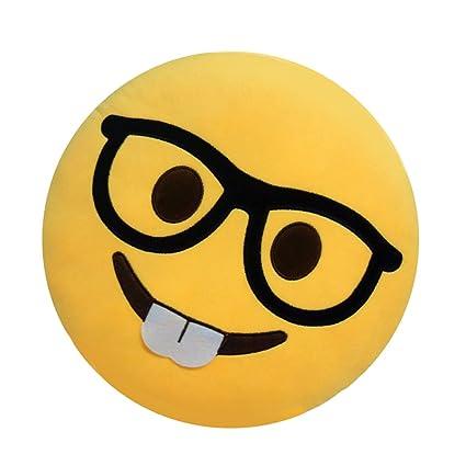 Cojín para sofá u oficina, diseños diferentes de emoticonos, color naranja