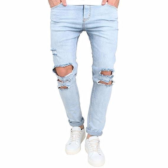 Pantalones vaqueros de los hombres Moda Elástico Ripeado Biker Jeans ...