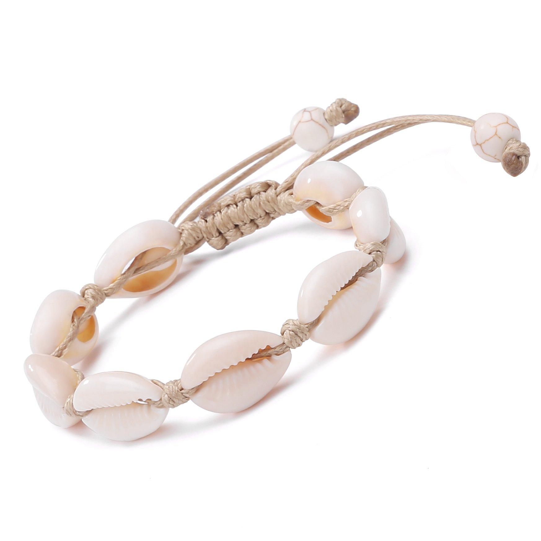 POTESSA Natural Cowrie Bead Shell Bracelet Hawaiian Jamaican Style Adjustable Beach Surfer Jewelry Macrame Bracelets for Women Girls