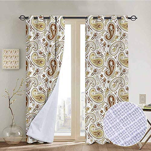 (NUOMANAN Blackout Curtains 2 Panels Paisley,Floral Patterns with Paisley and Tulips Persian Hippie Art Home Decor,White Chocolate Umber,for Room Darkening Panels for Living Room, Bedroom 52