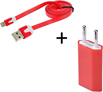 Shot Case Cable Noodle Cargador con Enchufe para iPhone 8 USB Lightning de Pared Pack 1 m Rojo: Amazon.es: Electrónica