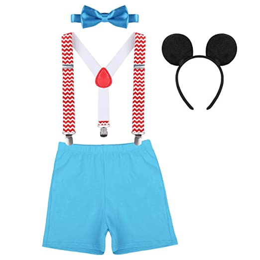 Baby Boy 1st Birthday Cake Smash Outfits Party Suspenders Diaper Nappy Cover Bow Tie Mouse Headband