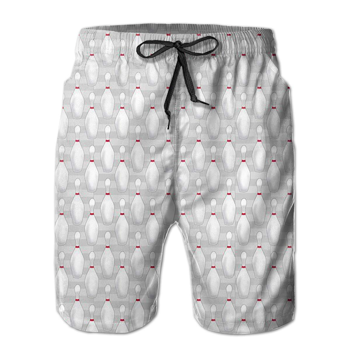 FASUWAVE Mens Swim Trunks Bowling Pin Quick Dry Beach Board Shorts with Mesh Lining