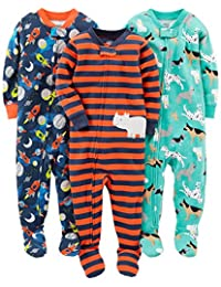 Simple Joys by Carter's Pijamas de algodón con pies Ajustados, 3 Unidades