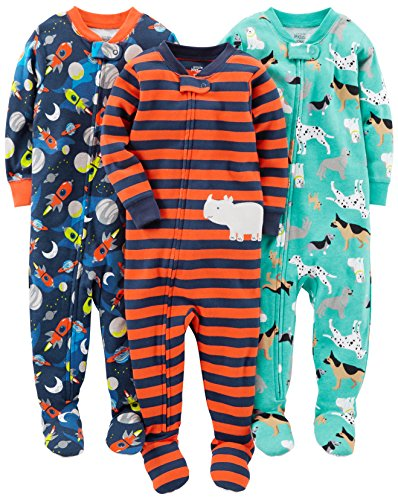Simple Joys by Carter's Baby Boys' 3-Pack Snug Fit Footed Cotton Pajamas, Dogs/Space/Rhino, 18 Months