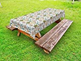 Lunarable Gardening Outdoor Tablecloth, Hand Drawn Yard Fences with Trowel Carrots Plants Soil Seed Flower Pot Sprout, Decorative Washable Picnic Table Cloth, 58 X 104 inches, Multicolor