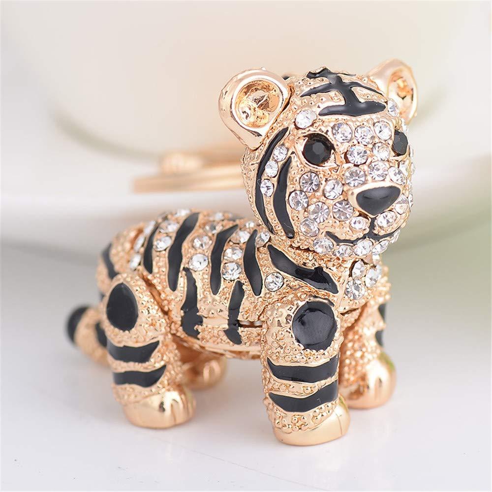 JewelBeauty Cute Animal Key Ring Ceative Keychain Crystal Rhinestone Tiger Key Chain for Woman Handbag Clothing Accessories (Gold#2)