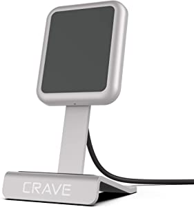 Crave Wireless Charging Stand, Fast Wireless Charger 10W Qi-Certified Wireless Charging Pad for iPhone 8/8Plus, X/Xs, Xr, Xs Max Samsung Note 8, S9+/S9, S10+/S10 - Silver