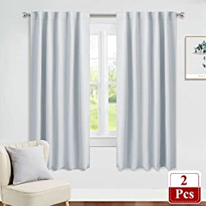 PONY DANCE Window Curtain Panels - Room Darkening Energy Saving Curtains for Kitchen/Bedroom with Back Tab Rod Pocket Home Decoration, 42 Wide by 63 inch Long, Greyish White, 2 Pieces
