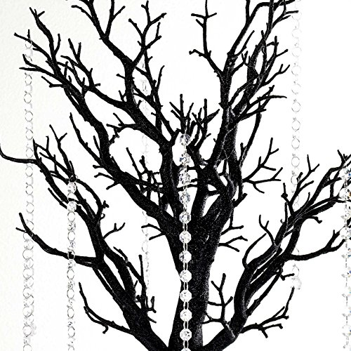 (BalsaCircle 30 inch Tall Black Glittered Manzanita Tree with Acrylic Garlands - Wedding Decorations Tabletop Home Decor Centerpieces Party Supplies)