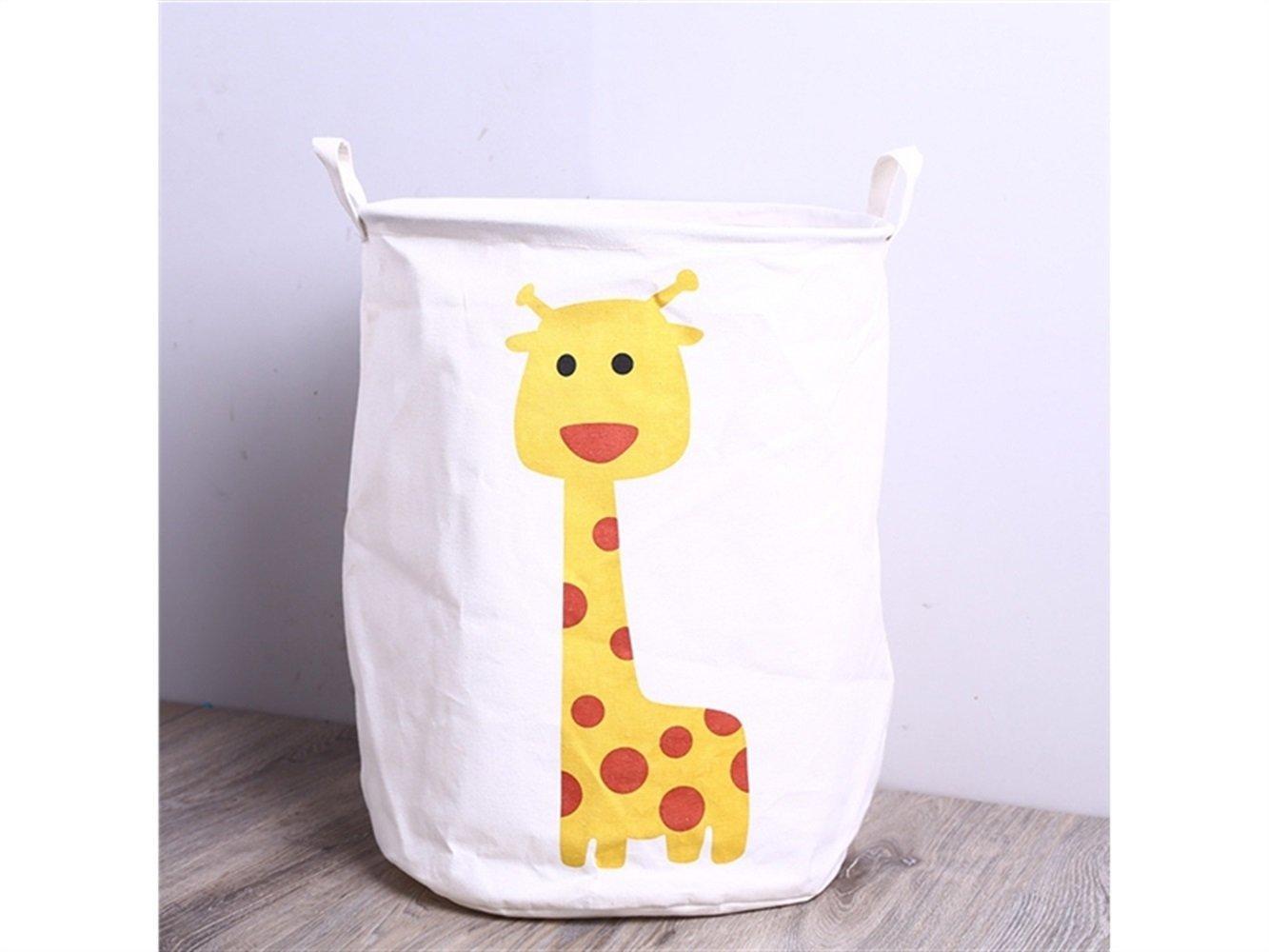 Gelaiken Lightweight Giraffe Pattern Storage Bucket Cotton and Linen Bucket Cloth Storage Bucket Sundries Storage Laundry Bucket(White)