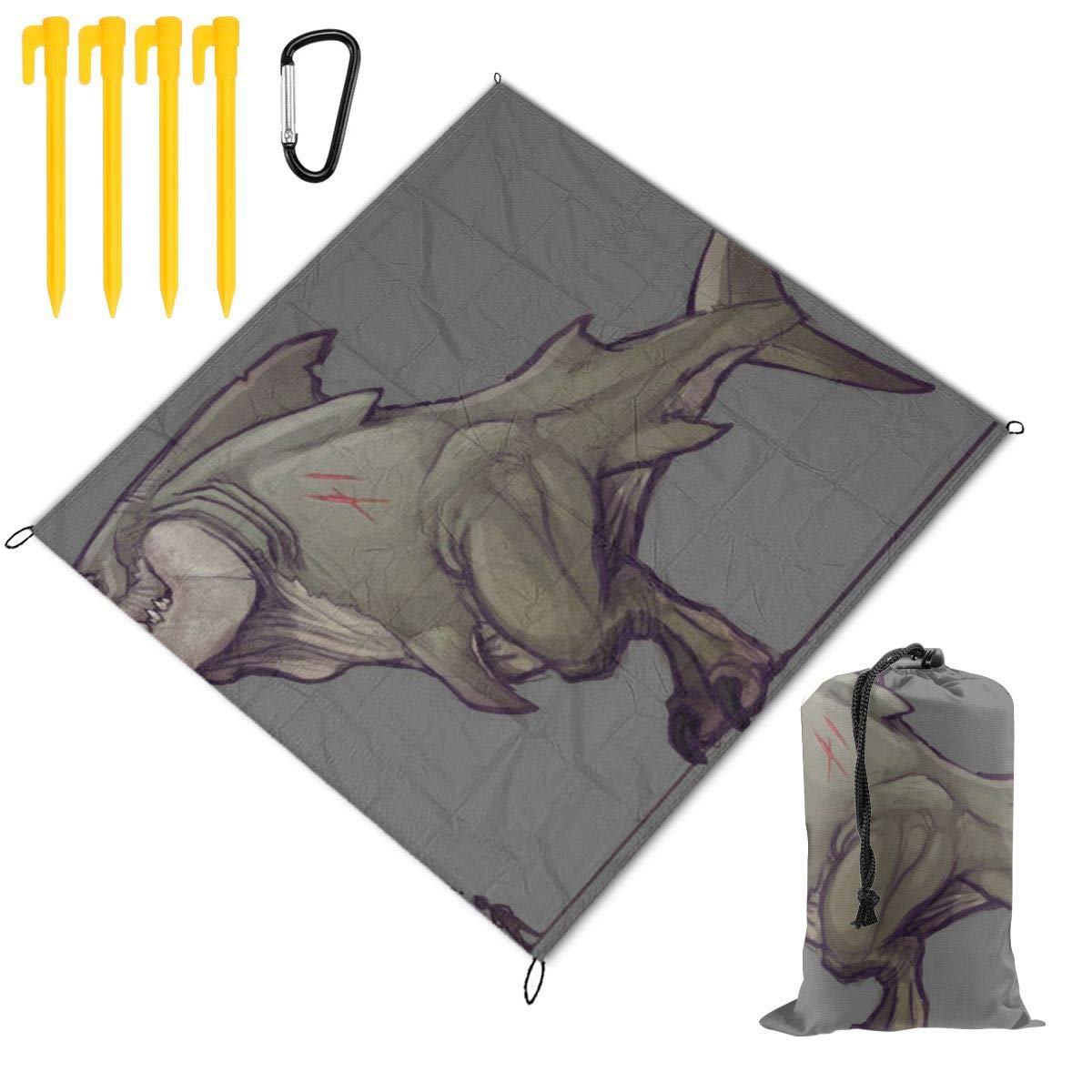 FunnyCustom Picnic Blanket Portable Waterproof Tiranodon Megalo Tirano Rex Picnic Mat for Beach Camping 79 x 57 Inch