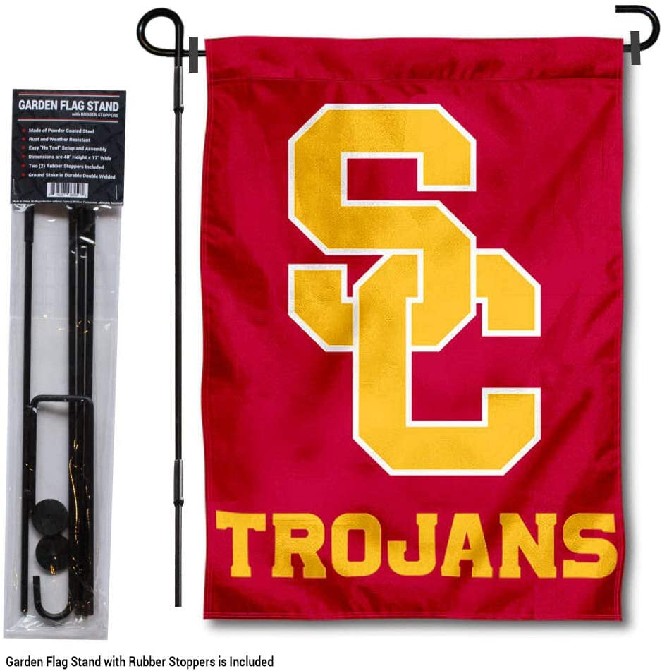 College Flags & Banners Co. USC Trojans SC Logo Garden Flag with Stand Holder
