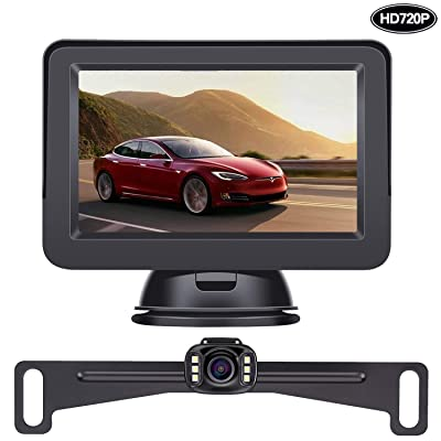LeeKooLuu HD 720P Backup Camera and Monitor Kit OEM, Hitch Camera for Cars, Trucks, Vans, Campers Waterproof Super Night Vision Rear/Front View Camera One Power System Reverse/Continuous Use DIY Grid Line : Camera & Photo