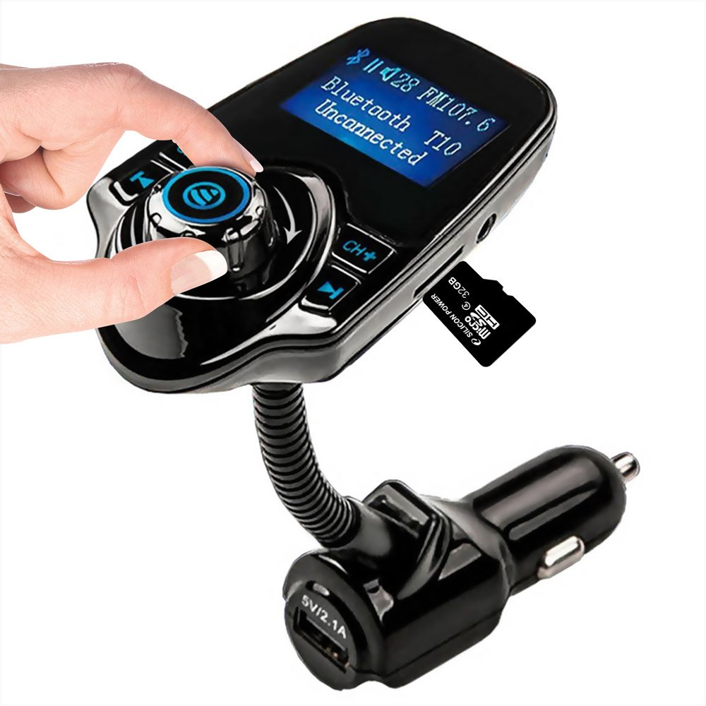 Bluetooth Car FM Transmitter Wireless in Radio Adapter Car Kit Bluetooth FM Transmitter in Car Universal Radio Adapter Hands Free Calling Music Player with USB Port and Aux Inputt/Output TF Card 1.44