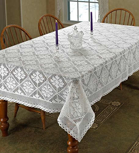 Oblong Lace Tablecloth (Violet Linen Stars Crochet Vintage Lace Design Oblong/Rectangle Tablecloth, 60