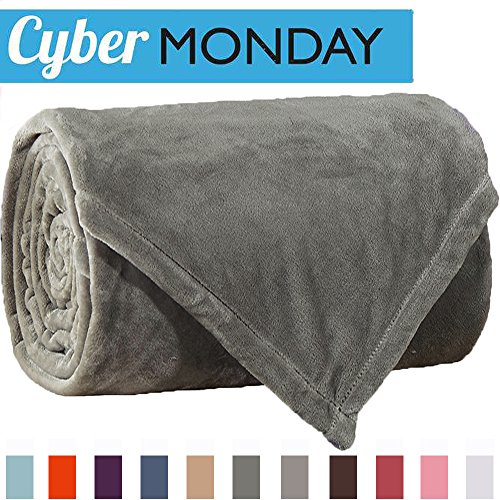 Sonoro Kate Fleece Blanket Soft Warm Fuzzy Plush Throw(60-Inch-by-43-Inch) Lightweight Cozy Bed Couch Blanket,Easy Care, Grey