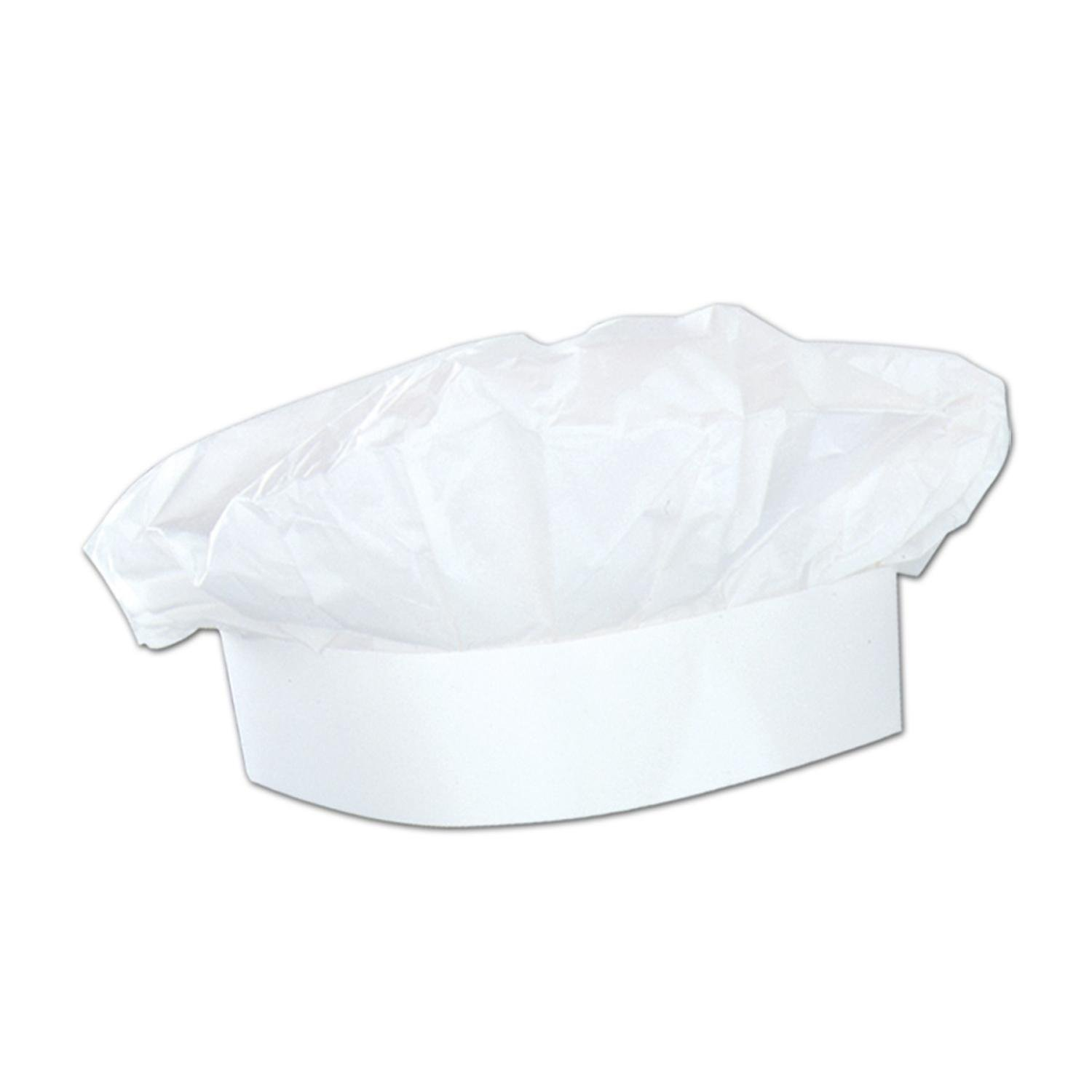 Club Pack of 48 Solid White Chef's Hat Costume Accessories