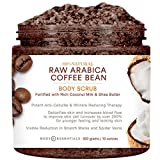 Body Essentials Arabica Coffee & Coconut Milk Scrub - 100% Natural Ingredients - Cellulite and Wrinkle Reduction - Stretch Marks - Spider Veins - Essential Oils - Shea Butter - Vitamin E
