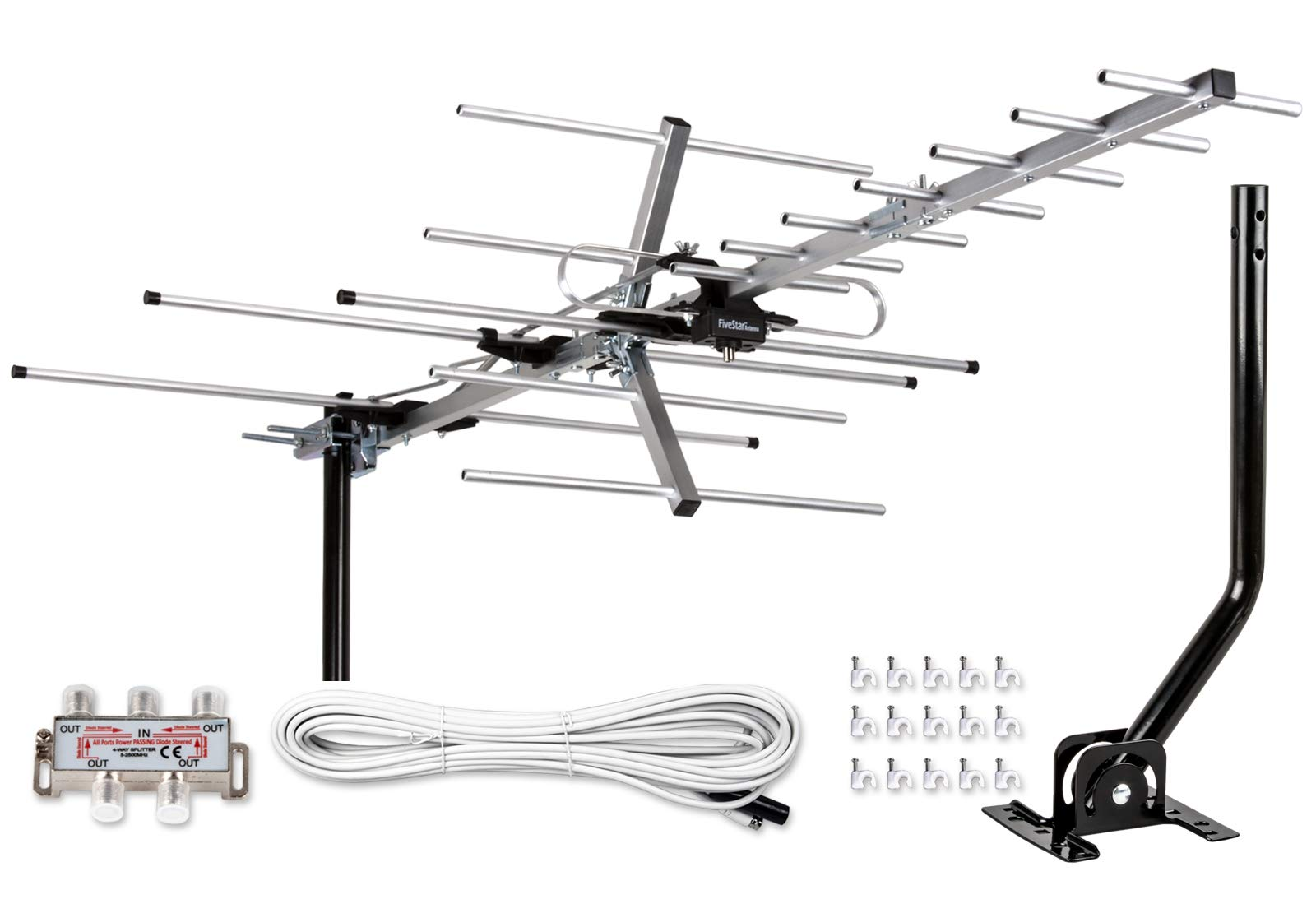 [Newest 2020] Five Star Yagi Satellite HD TV Antenna up to 200 Mile Range, Attic or Roof Mount TV Antenna, Long Range Digital OTA Antenna for 4K 1080P Supports 4 TVs Installation Kit & Mounting Pole