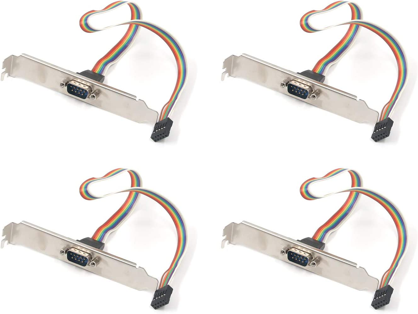 DB9 Serial Male to 10 Pin 2.54mm Female Dupont Jumper Wires Connector Slot Plate Panel Mount Rainbow RS232 Serial Adapter Cable w//Bracket 4Pcs 30cm Antrader 12in