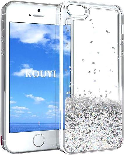 KOUYI Funda iPhone 5/5S/SE, Brillo Liquida Claro 3D Bling Cubierta ...
