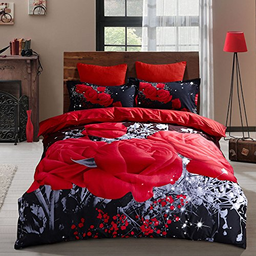 Floral Duvet Cover Set, Bedding Sets Soft Luxury 3D Red Rose Microfiber Comforter Cover, Bohemian Romantic Quilt Cover with Zipper Closure (Black Red, 3pcs, Full)