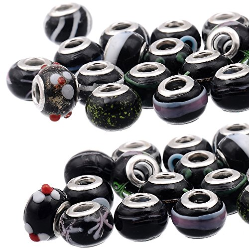 - RUBYCA Mix Black Murano Lampwork Glass Bead Rondelle European Charm Bracelet Silver Color 30pcs