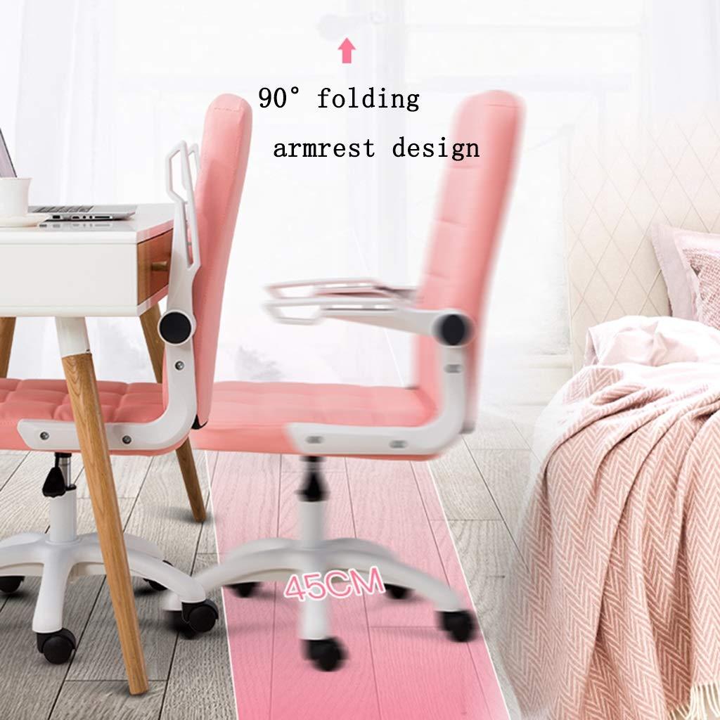 ZZHZY BBGS PU-läder kontor svängbar stol, datorsäte ergonomisk chef stol fem-stjärna fot lyft student sovsal svängbar stol, med vikbart armstöd (färg: A) c