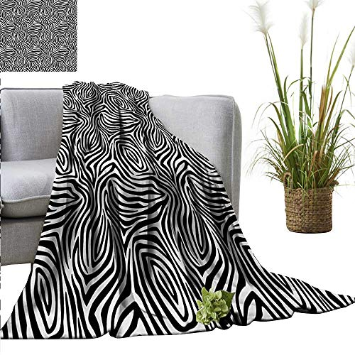 (homehot Stripes Faux Fur Throw Blanket African Zebra Skin Pattern with Abstract Lines Monochrome Wild Animal Hide Design Fall Winter Spring Living Room 54