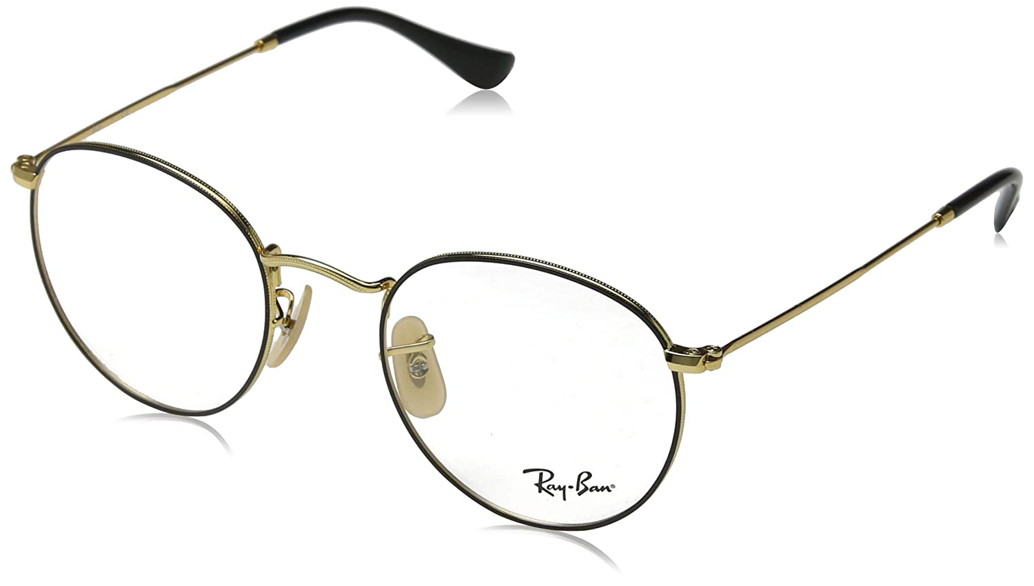e080ece62dc3 Amazon.com: Ray-Ban Men's RX3447V Round Metal Eyeglasses Gold On Top Black  50mm: Clothing
