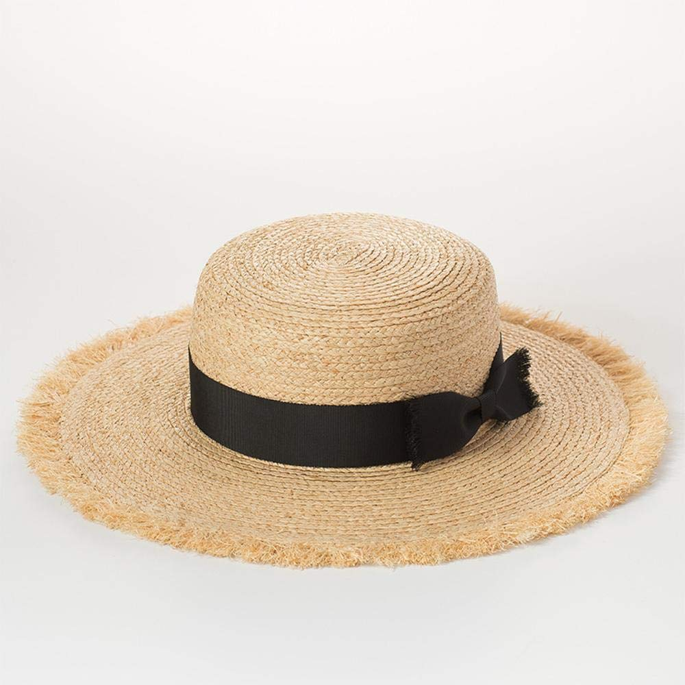 TtKj Lady Straw Hat Natural Straw Dome Hat Lady Summer Sun Visor Travel Hat Big Eaves Hat Beach Hat