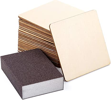 Boao Blank Wood Squares Wood Pieces Unfinished Round Corner Square Wooden Cutouts for DIY Arts Craft Project 6 x 6 Inch, 10 Pieces Laser Engraving Carving Decoration