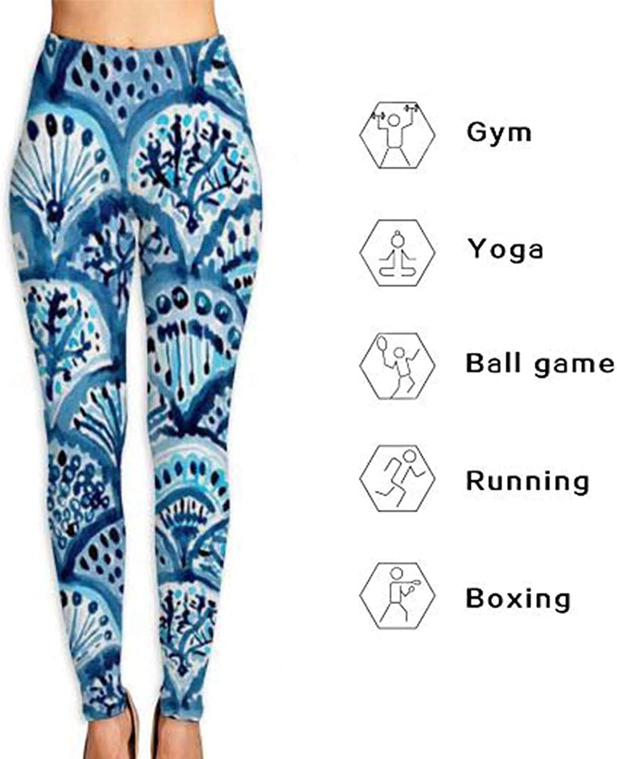 Ennieee Womens Yoga Pants Line Grid Elastic Workout Running Leggings Pants