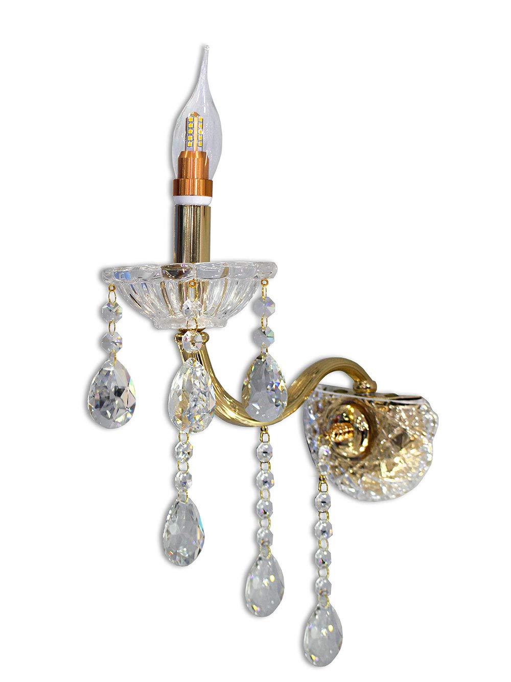 Argento Vetrineinrete/® Applique candelabro lampada da parete con gocce pendenti di cristallo in acrilico con attacco E14 oro e argento stile retr/ò E34 illuminazione lampadario casa