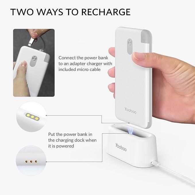 0bea91375fb Power Bank Set Yoobao 10000mah Cable USB Tipo C Incorporado Cargador  Portátil con Base de Carga Rápida Batería Externa Ultra Delgada y Compacta  para Samsung ...