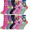 12 Pairs Pack Kids Girls Colorful Creative Fun Novelty Design Crew Socks