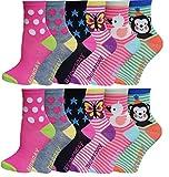 #8: 12 Pairs Pack Kids Girls Colorful Creative Fun Novelty Design Crew Socks