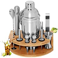 BRITOR Cocktail Set Bartender Kit,Cocktail Shaker Set with Bamboo Stand 12 Piece Bartending Tools 25 oz Professional…