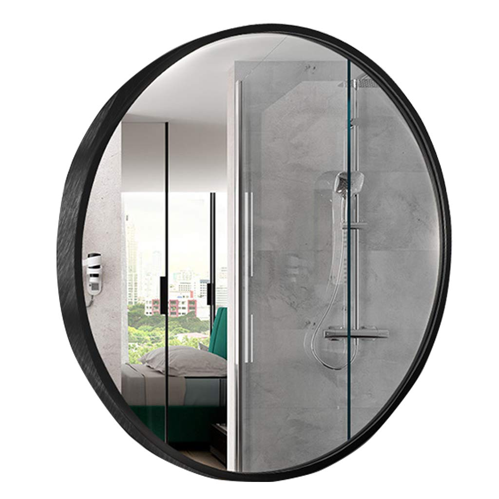 Black Φ60cm 23.6in Large Modern Silver Circle Wall Mirror Aluminum Alloy Frame  Contemporary Premium Silver Backed Floating Round Glass Panel