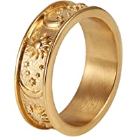 HZMAN 8mm Moon Star Sun Statement Ring Stainless Steel Boho Jewelry for Women Men